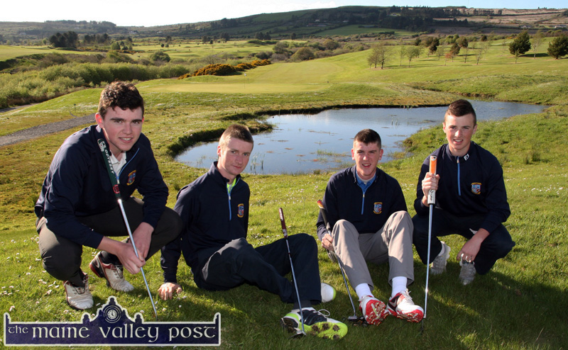 Flying the Castleisland Golf Club flag in Munster are from left: Ronan Cross, James McAuliffe, David O'Donoghue and Colin McCarthy pictured against the undulating beauty of their home course. ©Photograph: John Reidy 29-4-2014
