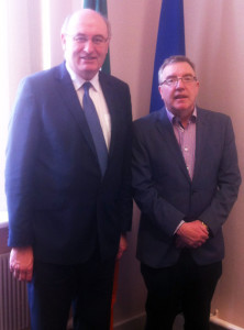 Cllr. Bobby O'Connell pictured with Environment Minister Phil Hogan in Dublin on Thursday after the minister made the announcement on the Castleisland Sewage Scheme extension.