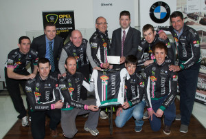 At the announcement of details of the Aherns BMW / OPEL, Kerry / An Post Rás team for 2014 were: Pat Ahern presenting a sponsorship cheque, with sales manager, Gordan Lunn,  to manager, Brendan Cassidy at Ahern's Castleisland showrooms. The team includes: Matt Slattery, John Mannix, Mike Lucey, Benny Cassidy, Cathal Moynihan,  Brian Hanafin, Brendan Slattery, Pysio; Cian Hogan, mechanic and Mike Shaughnessy.  Photograph: Joe Hanley