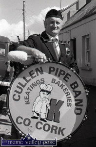 Richie O'Connor from Ballydaly with the Cullen Pipe Band Big Drum before the 1987 An Riocht 10K Road Race in Castleisland. ©Photograph: John Reidy