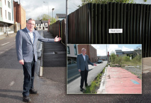 Job Done: Cllr. Bobby O'Connell with the re-hoarded site on Castleisland's Limerick Road on Thursday evening. And inset the way it looked after the storms at the turn of the year. ©Photographs: John Reidy