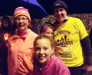 Teresa Kissane, originally Nolan from Laccabawn, Castleisland and now living in Fossa, Killarney, with her daughter, Aoife, at the start of the Darkess into Light Walk in Killarney with Peter Bellew and his daughter Meabh (partly hidden).  Photograph courtesy of www.killarneytoday.com