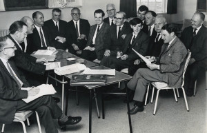 Where it all began: A meeting at the Pitch and Putt Clubhouse in Castleisland in 1968 to plan the building of an airport in Kerry. Included are from left: Michael J. O'Connor, Solicitor, Killarney; DD Twomey, Solicitor, Castleisland; Austin Stack, acting county manager and first secretary of the airport compeny; James O'Callaghan, KCC engineer; Jack B.D. O'Sullivan, Con Healy, Michael Hennebery, Tralee; John McSweeney, building contractor, Castleisland ; Tom Ryle,  first chairman of the airport company; Tim Murphy, Castleisland; John O'Donoghue, Farranfore; Sean WH O'Connor, Castleisland; Ned O'Mahony, Dr. Paddy Daly, Farranfore and Cllr. Bill Dennehy, Currow.