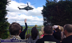 Good Luck Mag: The Irish Air Corps Helicopter taking off from The Crageens with Mag Mitchell on board just after 4-15pm on Monday afternoon to cheers and tears and waves from locals. ©Photograph: John Reidy 29-4-2014