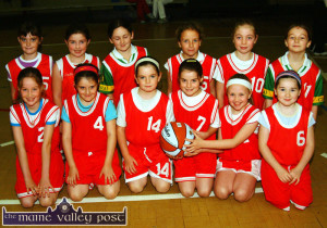 The St. Mary's U-10 Basketball team created its own bit of history in October 2004  in Castleisland when it played in the first County League game for that age category. The Castleisland girls played Lee Strand from Tralee and came off second best on that occasion. Front from left: Sarah O'Connor, Allison Walsh, Derval Sheehy, Elaine Doody, Adrienne McEllistrim and Alison McGaley. Back from left: Aoife Nolan, Roisín O'Connor, Neasa Sheehy, Eilish O'Callaghan, Margaret McCarthy and Jayne Shanahan.  ©Photograph: John Reidy  02/10/2004
