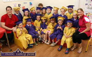 At the Bright Beginnings Pre-School Graduation Ceremony on Wednesday were front from left: Aaron, Joey, Evan, Ava, Evie, Tadhg and Darren. Back from left: Susan O'Mahony with: Oliver, Isabel, Sam, Pádraig, Catherine Horan, Jessica, Daniel, Anna, Liam, Jay, Ava and Marguerite Egan.  ©Photograph: John Reidy