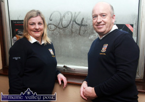 2014 Castleisland Golf Club captains: Margaret Moloney and John O'Connell pictured at their almost rained-off drive-in last January. Margaret is preparing for her Lady Captain's Prize day at the club on Sunday. ©Photograph: by John Reidy 12-1-2014