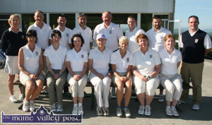 Castleisland Golf Club Irish Mixed Foursomes team. Front from left: Liz Galwey, Anne Fleming, Jane Dwyer, Maire Geaney, Leila Moloney, Maria O'Connor and Liz Downey Back row: Nancy Fleming, team manager; Brendan Mullins, Mike Brosnahan, Seamus O'Neill, Eamonn P. O'Connor, John Haugh, Jason McCarthy and Denis O'Donovan, team manager. The team also included Jamie O'Neill. ©Photograph: John Reidy