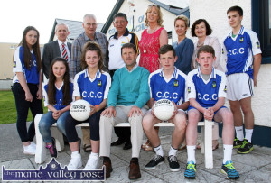 Guest of honour, Jack O'Connor pictured at the launch of the Kerry ETB Schools / Kerry GAA Board Coaching Initiative at Castleisland Community College on Thursday evening. Seated with Mr. O'Connor are: Nicole Downey, Labhaoise Walmsley, Patrick Horan and Ryan Maguire. Back row: Shauna Ahern, Colm McEvoy, CEO Kerry ETB; Hugh O'Connell, chairman of the college board of management; Ger Galvin, vice-chairman Kerry County GAA Board; Teresa Landers, deputy principal; Carmel Kelly, incoming principal; Ann O'Dwyer, education officer, Kerry ETB and Pádraig O'Connell. ©Photograph: John Reidy