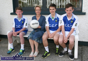 Getting to know you. Castleisland Community College incoming Principal, Carmel Kelly pictured with students: Ryan Maguire (left) Patrick Horan and Pádraig O'Connell at the launch of the Kerry ETB Schools / Kerry GAA Board Coaching Initiative at the college on Thursday evening. ©Photograph: John Reidy