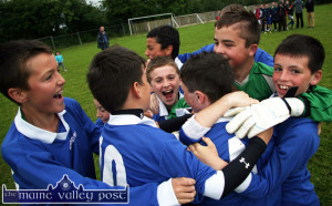 Our World Cup:  Celebration time for the Ballyhar, Firies / Farranfore based D'Unbelievables soccer team after they defeated Camp in the final of primary schools league in the 2013 Garda / KDYS Soccer League in Castleisland. ©Photograph: John Reidy