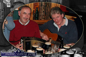 Pat McCarthy on Guitar with his late friend, Pat Mattie O'Connor, Knocknagoshel in a session at Cons Bar in the River Island Hotel, Castleisland in December 2006. ©Photograph: John Reidy 16-12-2006