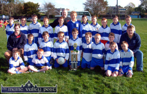 Castleisland Desmonds GAA Club U-12 team and mentors who won the 2004 Castleisland District League. Today's Kerry Junior Football team captain, Thomas Hickey is on the back row - third form the right. Front, from left: Graham O'Connor, Eoin Murphy, Niall Lombard  and Colm O'Connor. Seated, from left: Edward Costello, Mentor; Eamon McLoughlin, Tommy McCarthy, Timothy Walsh, Liam Lyons, Captain; Stephen Cahill, Hugh Herlihy, Francis McAuliffe and James Lyons, Mentor. Back row, from left: Gearóid Leonard, William Stack, Declan Cahill, Tadhg O'Connell, Donagh O'Connell, John O'Connor, Mentor; Jack Kirwan, Denis O'Connor, JJ Casey, Thomas Hickey, Maurice Lynch and Billy Shanahan. Team members, Michael Horan and Gearóid McCarthy were not available when the photograph was taken.  ©Photograph: John Reidy  9-10-2004