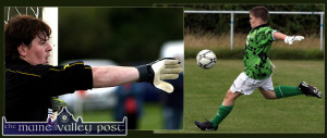 Today's Keepers from 2007:  Currans 'keeper, Kevin Moran (left) organising his defenders during an away game against Castleisland on a Sunday afternoon in April 2007. ©Photograph: John Reidy   22/04/2007 While Listowel Celtic U-13 goalkeeper, Darragh O'Shea clearing his lines during the Premier Division game against Kingdom Boys in Tanavalla, Listowel on a September Saturday. ©Photograph: John Reidy 15/09/2007