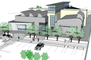 An artist's impression of Castleisland's Library and Area Services Centre which was produced before the building began in 2006. Courtesy of Charlie O'Sullivan, KCC.
