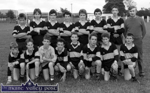 The Currow U-14 Gaelic Football team which defeated Scartaglin in the semi-final of the 1990 Castleisland District League in Castleisland. Front from left: David Walsh, Brendan Moran, Thomas Mitchell, Alan Murphy, Colm Daly, Paudie Brosnan, Seán Dennehy, and John Kelly.  Back from left: William Costello, Cian Daly, John Maguire, Michael Casey, Mossie Mitchell, Liam Brosnan, Kieran Fleming and Eamon Maguire, trainer. ©Photograph: John Reidy  8-8-1990