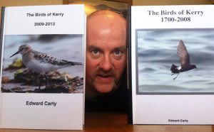 Killarney Road, Castleisland native, Edward Carty with his two collections which, between them, chart and chronicle 'The Birds of Kerry' from 1700 to 2013.
