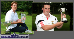 Castleisland Pitch & Putt Club member, Julianne Browne pictured with the spoils of her victory in the Munster Match Play finals which were played in in Cork in July 2004. While the relatively recent convert to the game James Dignan also won silverware for the home club at the Danny Broderick Memorial Tournament on Sunday.  ©Photographs: John Reidy  28-7-2004 and 23-7-2014