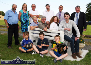 At the launch of the Sliabh Luachra Music Trail in Scartaglin were, young musicians from left: Kirill Healy, Liam Randles and Liam Kerrisk. Seated: Anne and Nicky McAuliffe, musicians and music teachers; Bridie Garvey, Scartaglin Heritage Centre and Cian Heffernan, Cork County Council Arts Officer. Back row: Cllr. Danny Healy-Rae; Kate Kennelly, Kerry County Council Arts Officer; Cllr. Michael Gleeson, Cllr. Niall Kelleher, Cllr. John Joe  Culloty, Mayor of Killarney and Cllr. Timmy Collins, Deputy Mayor of Cork County Council. ©Photograph: John Reidy