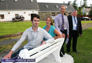 At the launch of the Sliabh Luachra Music Trail in Scartaglin were: Cian Heffernan, Cork County Council Arts Officer; Kate Kennelly, Kerry County Council Arts Officer; Cllr. John Joe  Culloty, Mayor of Killarney and Cllr. Timmy Collins, Deputy Mayor of Cork County Council.  ©Photograph: John Reidy