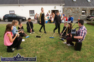 Brushing up on their routine outside the Scartaglin Heritage Centre for their Sliabh Luachra Musical Trail stage appearance last year were: Sarah O'Keeffe, Niamh McSweeney, Niamh O'Connor, Eoghan McMahon, Eimear Horgan, Paul O'Connor, Rachel Brennan, Fiona Nelligan and Steven O'Leary. ©Photograph: John Reidy  25-7-2013