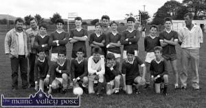 The Scartaglin U-14 Gaelic Football team which was defeated by Currow in the semi-final of the 1990 Castleisland District League in Castleisland. Front from left: Jerh O'Sullivan, Tim Coakley, Noel Rahilly, Danny Buckley, Dan McCarthy, Donald O'Sullivan and Jerh Horan. Back from left: Neilie Cronin, trainer; John Reidy, club secretary; Pat O'Connor, JJ O'Mahony, Brendan O'Riordan, Seán Griffin, John O'Sullivan, selector; Con Kerins, Pat Reidy, Jason O'Connor, Jerry Cronin and Moss Coakley, selector.  ©Photograph: John Reidy  8-8-1990