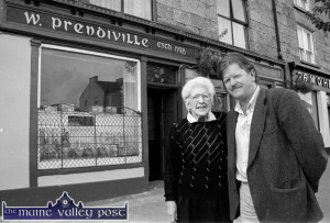 Proprietor, Sheila Prendiville pictured with Mike Kenny after his sign-writing and presentation of the fascade of the bar gained an honourable mention in the 1998 Tidy Towns report. Another good night ensued. ©Photograph: John Reidy 18-9-1998