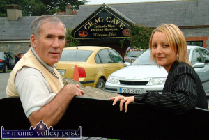 Radio Kerry presenter and commentator, Weeshie Fogarty pictured with Crag Cave manager, Lisa Geaney away back in 2003. Weeshie will broadcast a one-hour Terrace Talk special this evening from 6pm with a strong Castleisland / Chicago flavour.     ©Photograph: John Reidy   15/07/2003