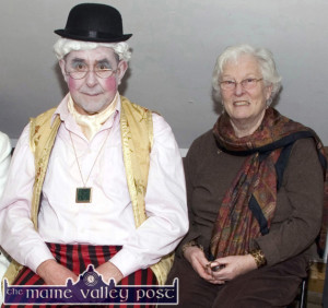 One of his many roles: Twinning committee former chairman, Paddy McCrohan pictured here with his wife Denise before a Sliabh Luachra Drama Group performance of  the George Fitzmaurice play 'The King of the Barna Men' at Scartaglin Heritage Centre. ©Photograph: John Reidy 17-2-2013