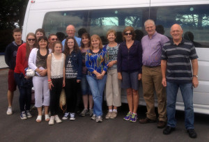The visiting group leaving Castleislandfor Bannalec.  From left Padraic O'Connell, Marie O'Connell, James Beasley, Margaret Cahill, Claire Cahill, Roisin Beasley, Marilyn Cahill, Pat O'Sullivan, Ann Beasley, Eileen O'Connell, Bertha O'Sullivan, Sheila O'Donoghue, Hugh O'Connell and John O'Donoghue.