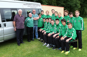 Members of the Castleisland Juvenile Soccer squad preparing for the club's 41st trip to Manchester. Included are from left: John Mitchell, Georgie O'Callaghan and Donal O'Flaherty. Players, seated from left: Shay Walsh, Seán Horan, Patrick Horan, Jack Flynn, Eddie Horan, Jack Brosnan-Reidy and Connie O'Connor. Back from left:  Patrick Roche, Cathal O'Donoghue, Jonathan Healy, Cian Mangan, Brian Daly, Colm Roche, Darragh Bourke, Daniel Kelly and Danny Hickey. Photograph: Castleisland AFC
