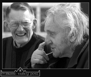 A festival to honour the memory of the late  Con Houlihan is being revived after an initial outing in 2013. Con is pictured here with the late Johnny O'Leary in Scartaglin during the filming of 'Waiting for Houlihan' the TV documentary on his life and work. ©Photograph: John Reidy 19/09/2002