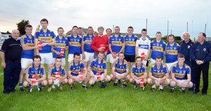 Members of Cordal GAA Club senior squad and management promoting the 'It's in your Blood' campaignfor the Irish Blood Transfusion Service. Included are front from left: Flor Griffin, Gary O'Leary, Billy Cronin, Tim O'Donoghue, Daniel O'Connor, Tomas Brosnan, Kian Fitzgerald and Daniel Kearney. Back from left:  Jimmy Roche, selector; Micheal Cahill, Donal McCarthy, Colm Poolman, Philip Griffin, team leader blood rep;  Kevin Moroney, Mossie Enright, Diarmuid Flynn, Niall Ó Ciardubháin, John Brosnan, Padraig O'Connell, Anthony Begley, John Mannix, Tommy O'Mahony, Charlie Farrelly, selector and Jackie Reidy, manager and trainer.  Photograph courtesy of Nora Fealey.