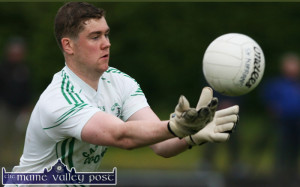 St. Kieran's 'keeper, Conor Kiely kept the Kenmare District side at bay in the early stages of the County U-21 Football Championship Final at Fitzgerald Stadium on Wednesday evening. ©Photograph: John Reidy