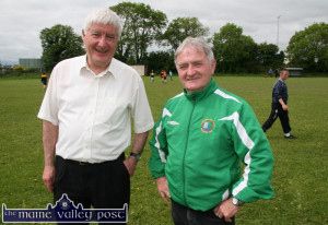 Fr. David Lupton (left) pictured in Castleisland with Georgie O'Callaghan in 2011. Both men have been exchanging tours beck and forth over the past 40 odd years. ©Photograph: John Reidy 2-6-2011