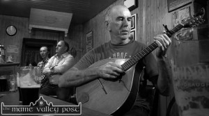 Handed Down organiser, PJ Teahan pictured during a recent filmed session at Sheila Prendiville's Bar & Grocery with fellow musicians, Mick Culloty (left) and Tom O'Connell. ©Photograph: John Reidy 7-8-2014