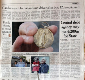 Page 7 of Friday's Irish Examiner which carried the 'Medal Story' - first reported by The Maine Valley Post.