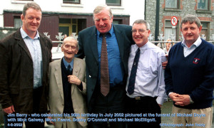 Sharon Lynch's grandfather, Jim Barry - who celebrated his 90th birthday on the week before this pictured was taken. The late Jim was pictured at the funeral of Michael Doyle with Mick Galwey, Moss Keane and Cllr. Bobby O'Connell and Michael McElligott. ©Photograph: John Reidy 4-8-2002