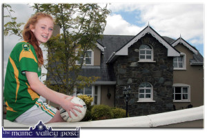 Kayla O'Connor pictured at home in Cordal as she counts down the days to her appearance with the Kerry U-14 Football team in Croke Park on Sunday. ©Photograph: John Reidy