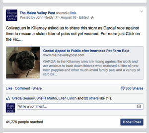 A screen grab of The Maine Valley Post facebook page which shows the staggering figures in response to the stolen pets appeal.
