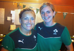 The just capped, Sharon Lynch (left) and the established, Siobhán Fleming will play side-by-side on the back row in tomorrow's game in the Women's Rugby World  Cup against Kazakstan in France.