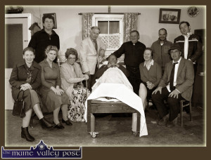 Sliabh Luachra Drama Group members pictured during a dress rehearsal for their production 'Wake in The West in January. Included are fornt: Catriona Hickey, Geraldine O'Driscoll, Moira O'Connor, Thade Hickey, Nora Walsh and Seán McGuire, director; Back from left: John Walsh, Tim Dineen, Dermot O'Leary, Vincent Salmon and Danny O'Leary. The play goes on stage in Scartaglin again this weekend. ©Photograph: John Reidy 26/01/2014