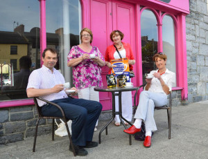 Castleisland Hospice branch members pictured outside the premises at Dave Geaney's Corner on Lower Main Street which will be this Thursday's venue for the annual hospice coffee morning.  Chairman Jack Shanahan is pictured with: Kathleen Griffin, Tess Fitzgerald and Catherine Horan. There will also be a coffee morning at Upper Main Street at the home of Tom McCarthy.