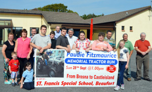 Members of the Fitzmaurice family, organisers, management and clients of the St. Francis Special School in Beaufort announcing details of Sunday's third annual Paudie Fitzgerald Memorial Tractor & Vintage Run.