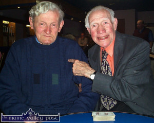 Two of  Kerry's former great footballers now gone to their eternal reward:  Eddie Walsh, Knocknagoshel (left) and Martin 'Bracker' Regan, Tralee pictured playing cards in Skevenas Bar in Castleisland for the weekly 31 drive in aid of the local coursing club.  ©Photograph: John Reidy 20-5-2001.