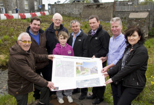 Members of Farranfore Development Association revealing plans to develop and enhance the areas of waste ground around their historic railway station in May 2013. Included are: John O'Donoghue, Nigel Brosnan, Fr. Seán Horgan, Ella Walshe, Michael Moriarty, Dan Ahern, Richard Sherwood and Fiona Walshe. ©Photograph: John Reidy 18-5-2013