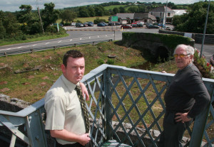 Farranfore Development Association members, Dan Ahern (left) and John O'Donoghue overlooking the reclaimed railway site which was part of their village project in August 2013. ©Photograph: John Reidy 16-8-2013