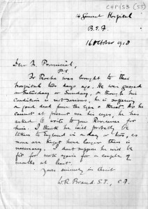 The 'Sum Copy' note from Fr W R Brand SJ informing Father Provincial Thomas V Nolan SJ that Fr Roche has been gassed, 'though his condition is not serious'. October 16th 1918.