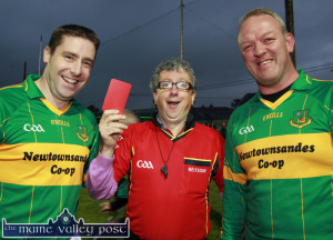 Referee, Billy Keane had a pocket full of red cards for a charity game involving  Darragh Ó Sé and Mick Galwey during 2011 race week  in Listowel. ©Photograph:  John Reidy 13-9-2011