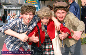 All-Ireland Champions:  Cordal Youth Club's all-conquering comic heroes, from left: Brian O'Connor, Timmy Brosnan and Pat O'Sullivan who returned from Maynooth where they won  All-Ireland Youth Club Variety Competition. The boys are pictured after their laugh-a-minute performance at the Castleisland St. Patrick's Day Parade. ©Photograph: John Reidy 17-3-2003